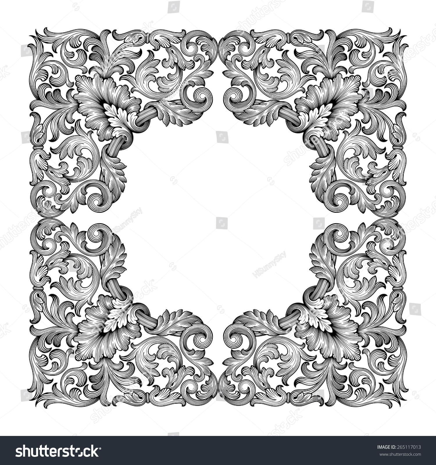 Vintage Baroque Frame Leaf Scroll Floral Stock Vector (Royalty Free ...