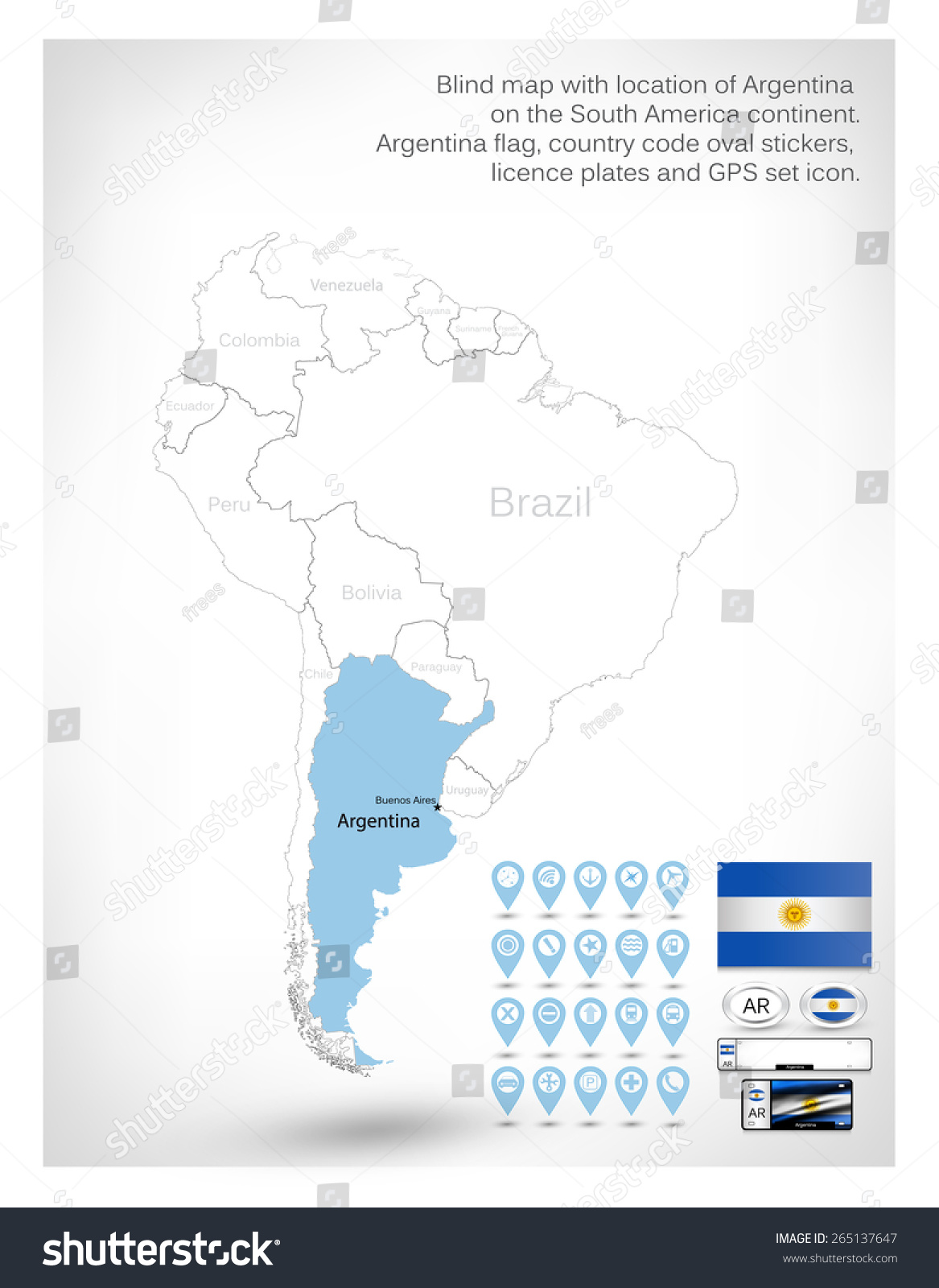 Blind Map Location Argentina On South Stock Vector - Argentina map location