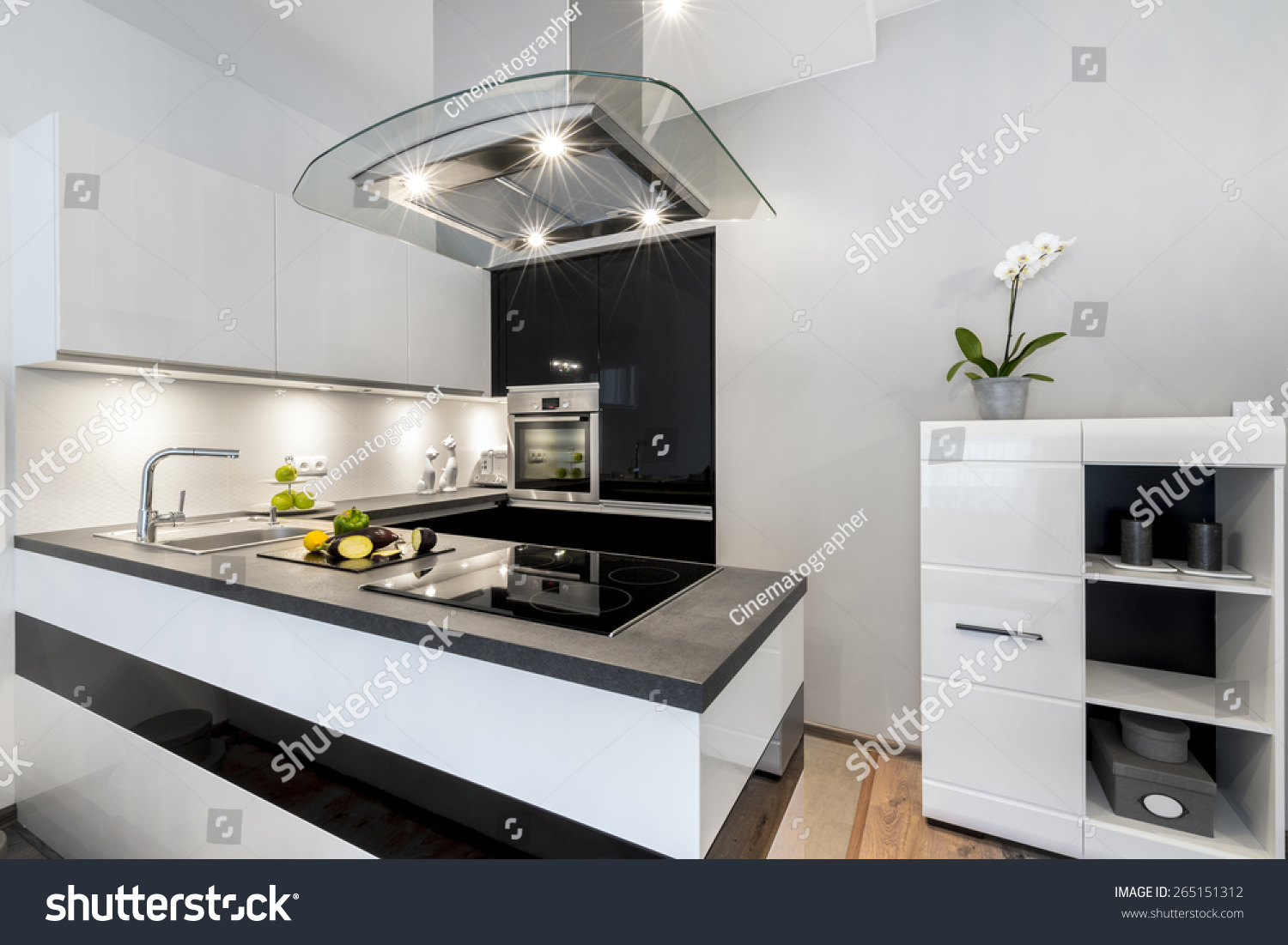 Black White Kitchen Modern Interior Design Stock Photo