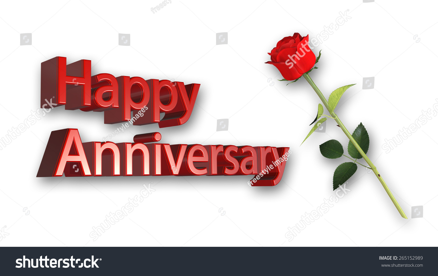 Happy Anniversary Greeting Card Red Rose Stock Illustration