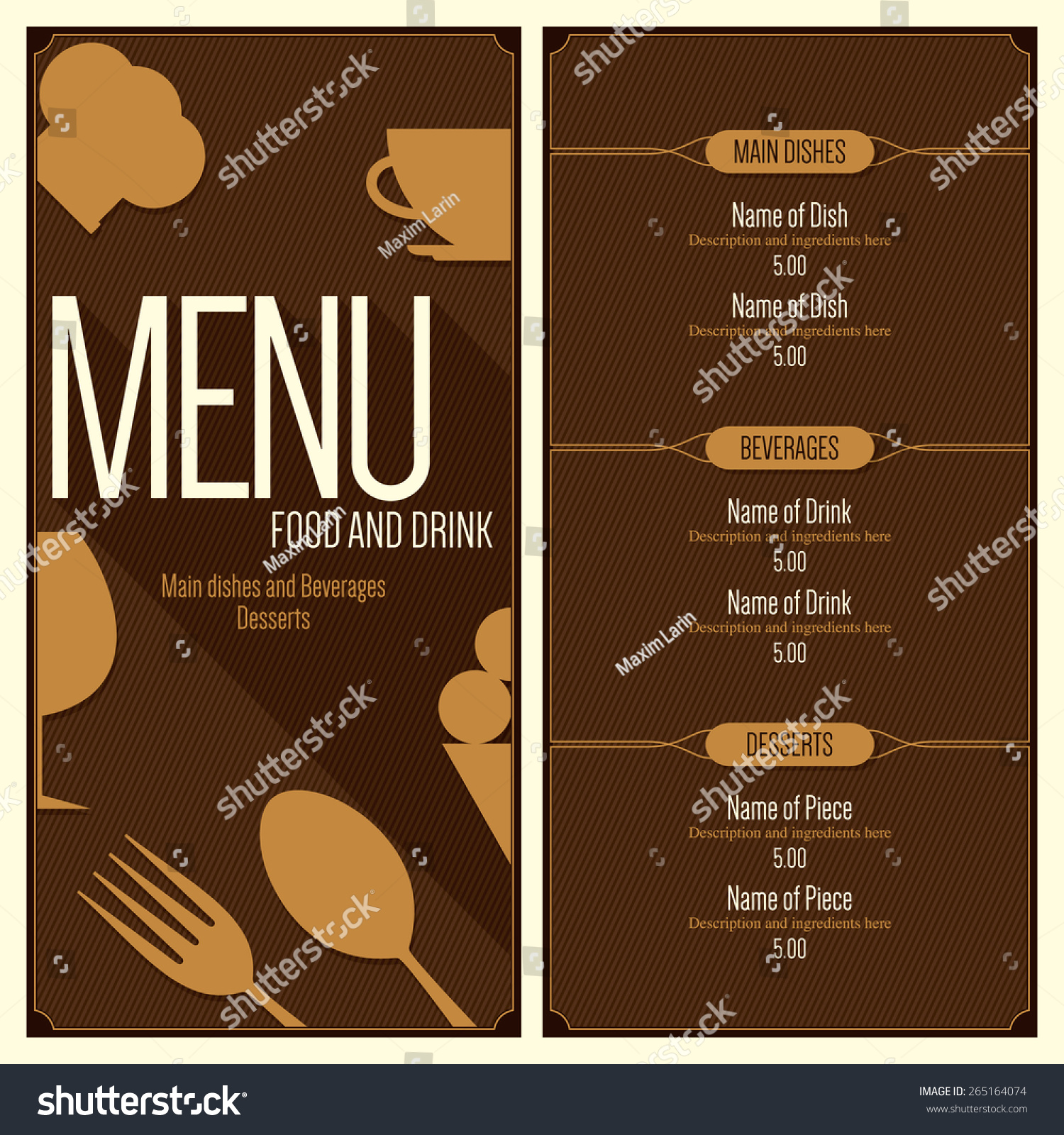 Vector Menu Brochure Template For Cafe, Coffee House, Restaurant,