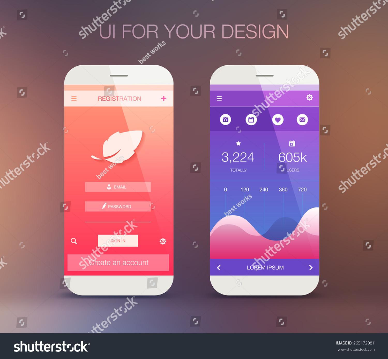 Mobile Application Interface Design Stock Vector