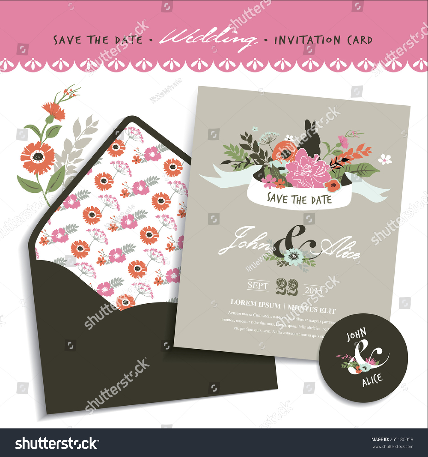 Save date wedding invitation card envelope stock vector 265180058 wedding invitation card envelope design stopboris Image collections