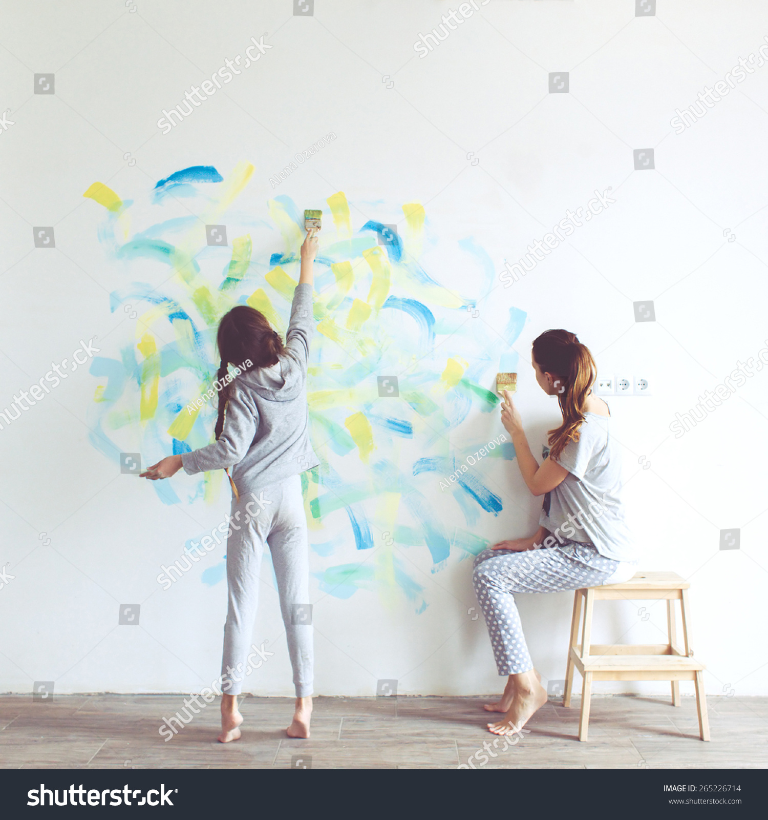 8 years old girl painting wall stock photo 265226714 for Style at home instagram