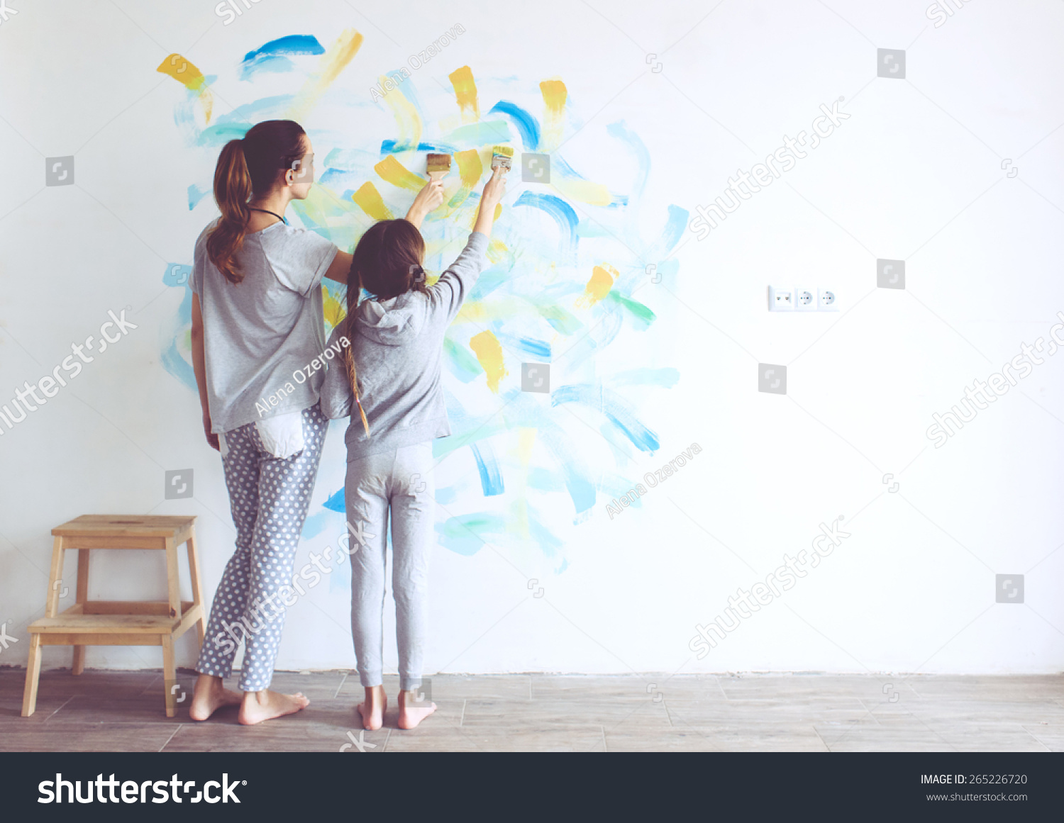 8 years old girl painting wall stock photo 265226720 for Style at home instagram