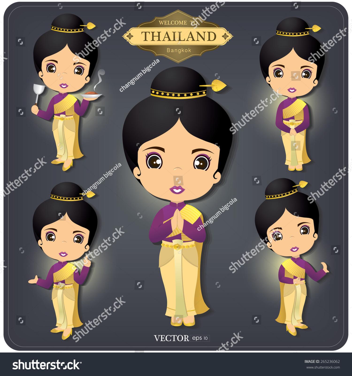 Cartoon Vector Thailand Women Set Hello Stock Vector 265236062