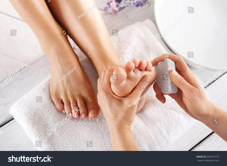 Peeling Feet Pedicure Treatment Foot Care Treatment Stock Photo ...