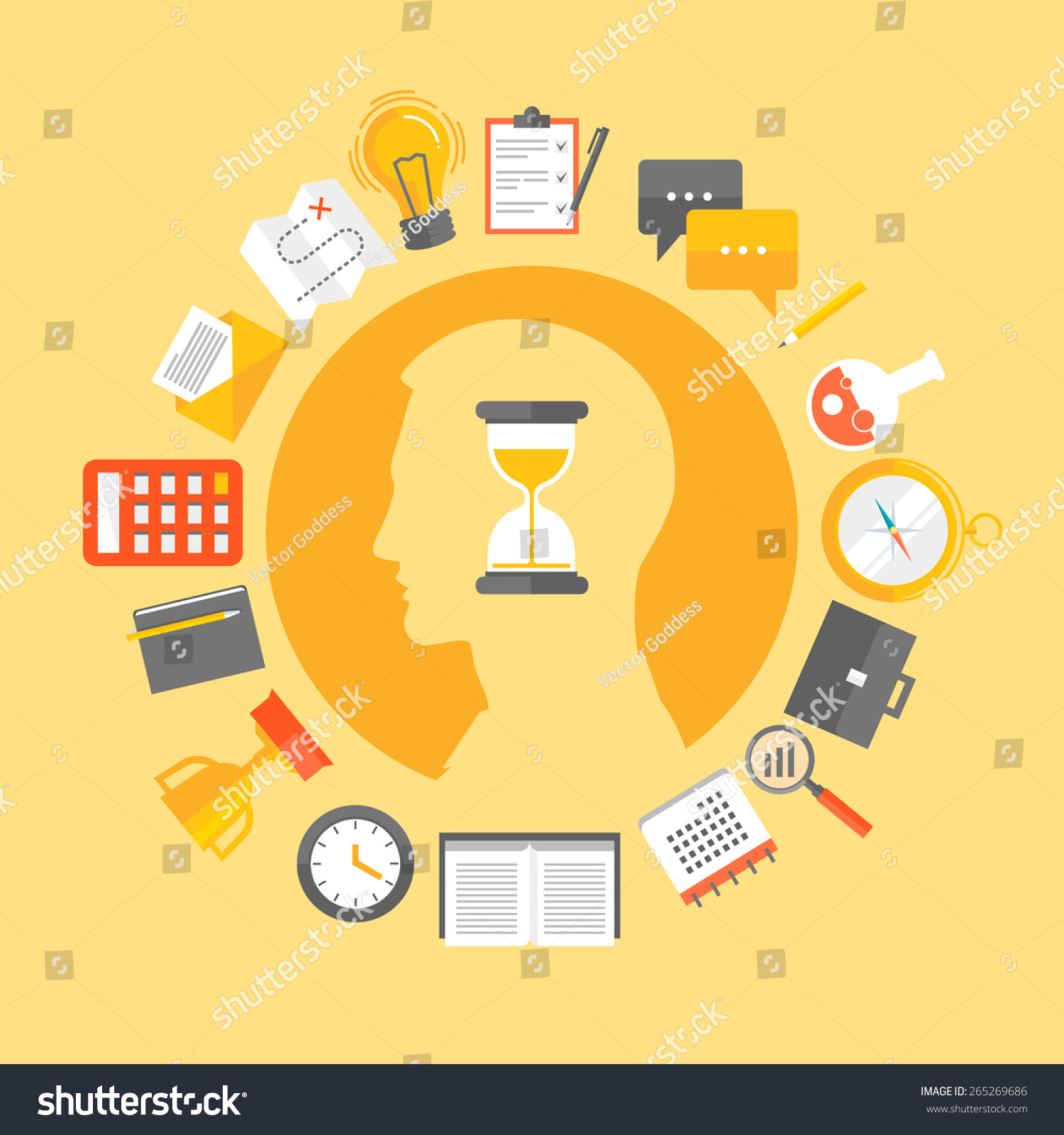 Flat Design Vector Illustration Concept Productivity Stock Vector