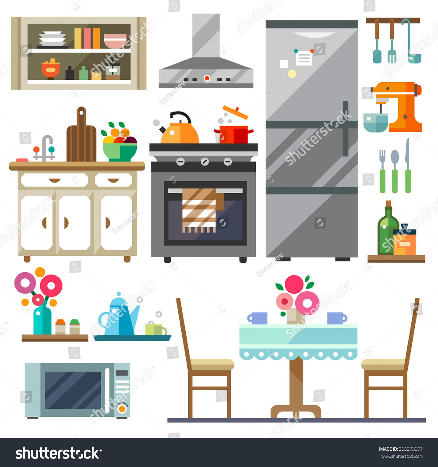 Home furniture kitchen interior design for Kitchen set drawing