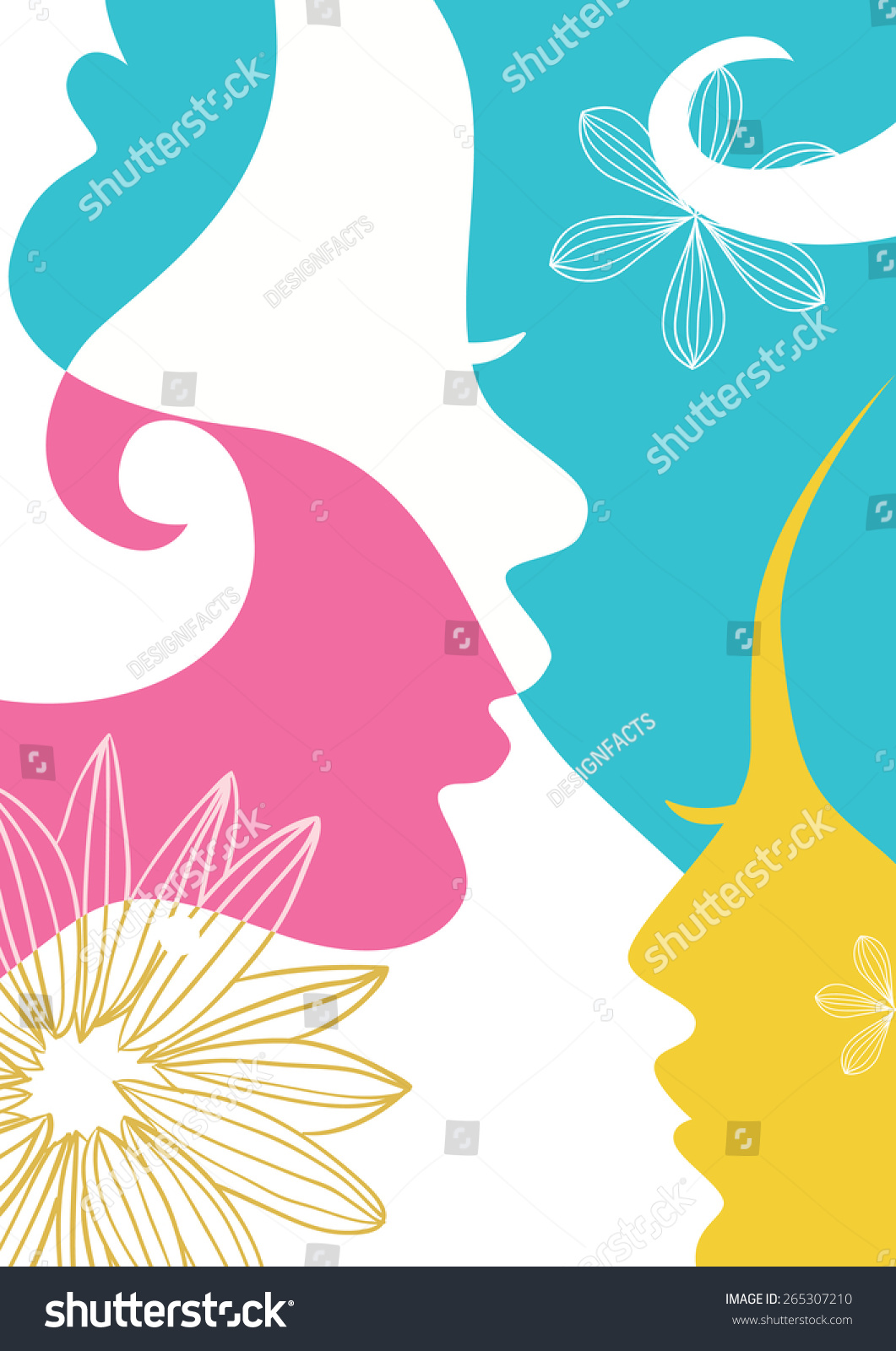 2395c8d724ff Illustration of colorful faces of young girls. Concept for International  Women s Day Celebration in March