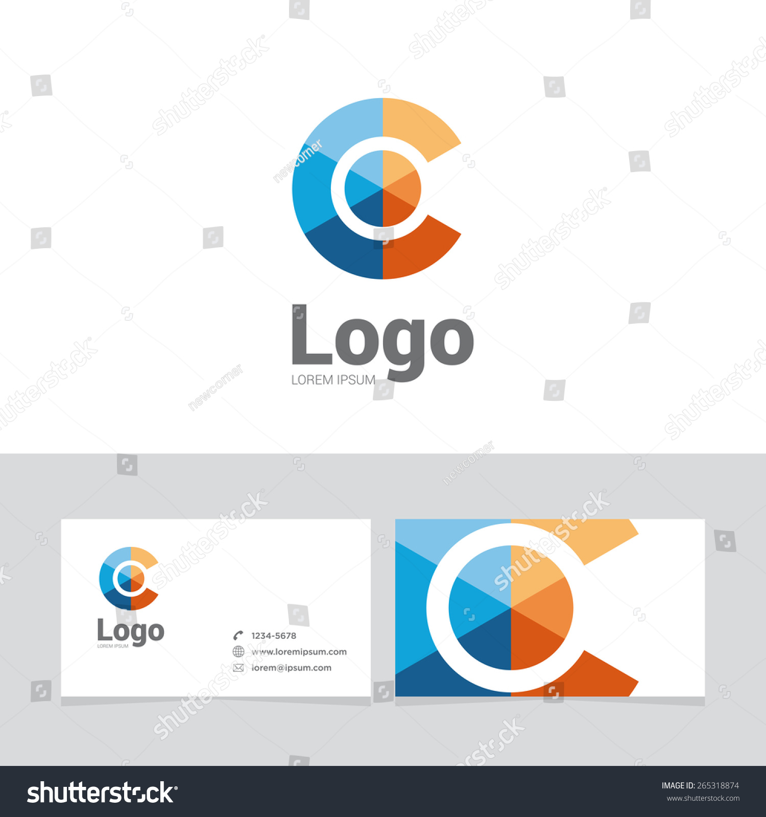 Logo design element with two business cards. Logo letter. Sphere ...