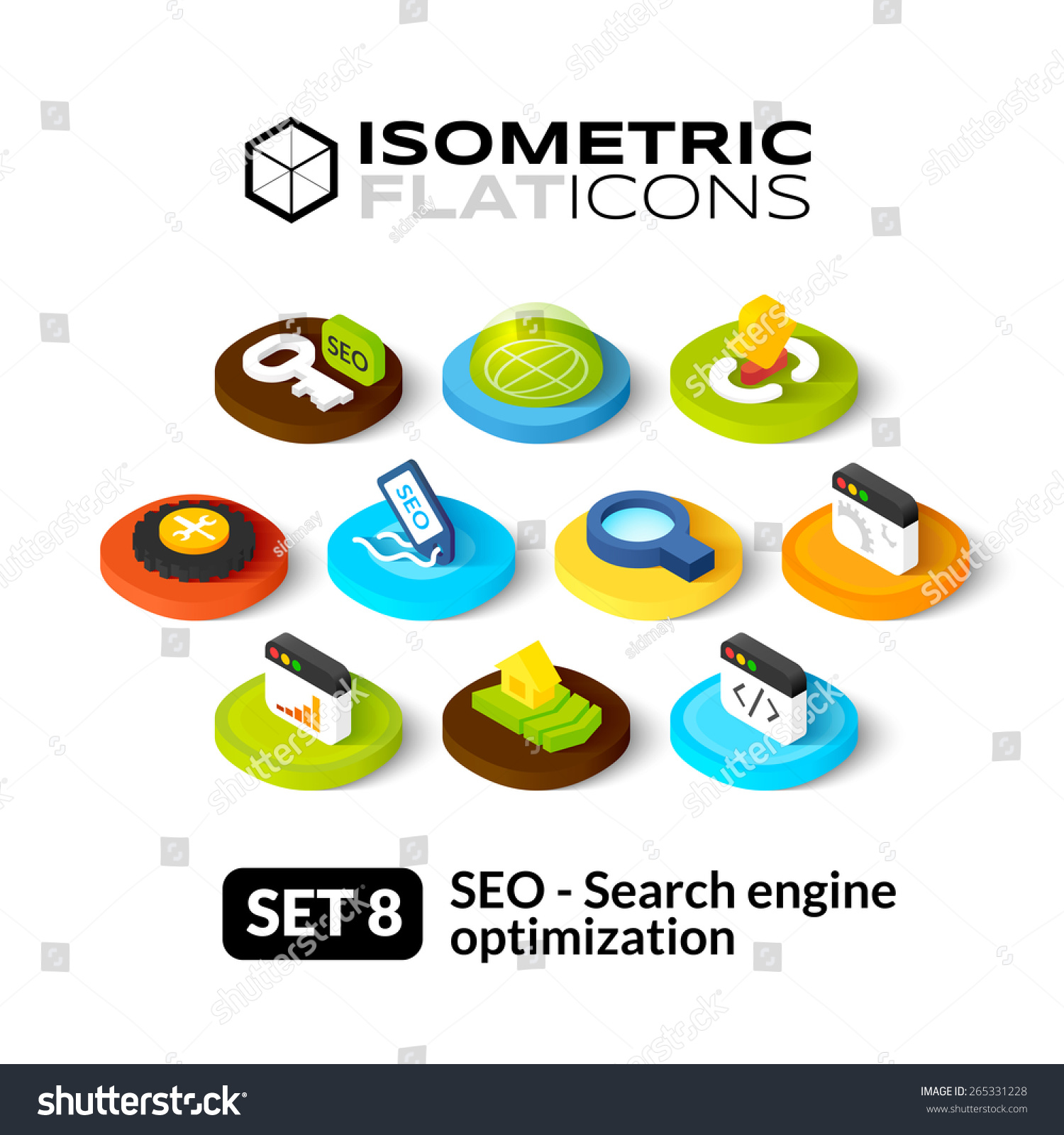 Isometric flat icons 3d pictograms vector set 8 search for 3d search engine