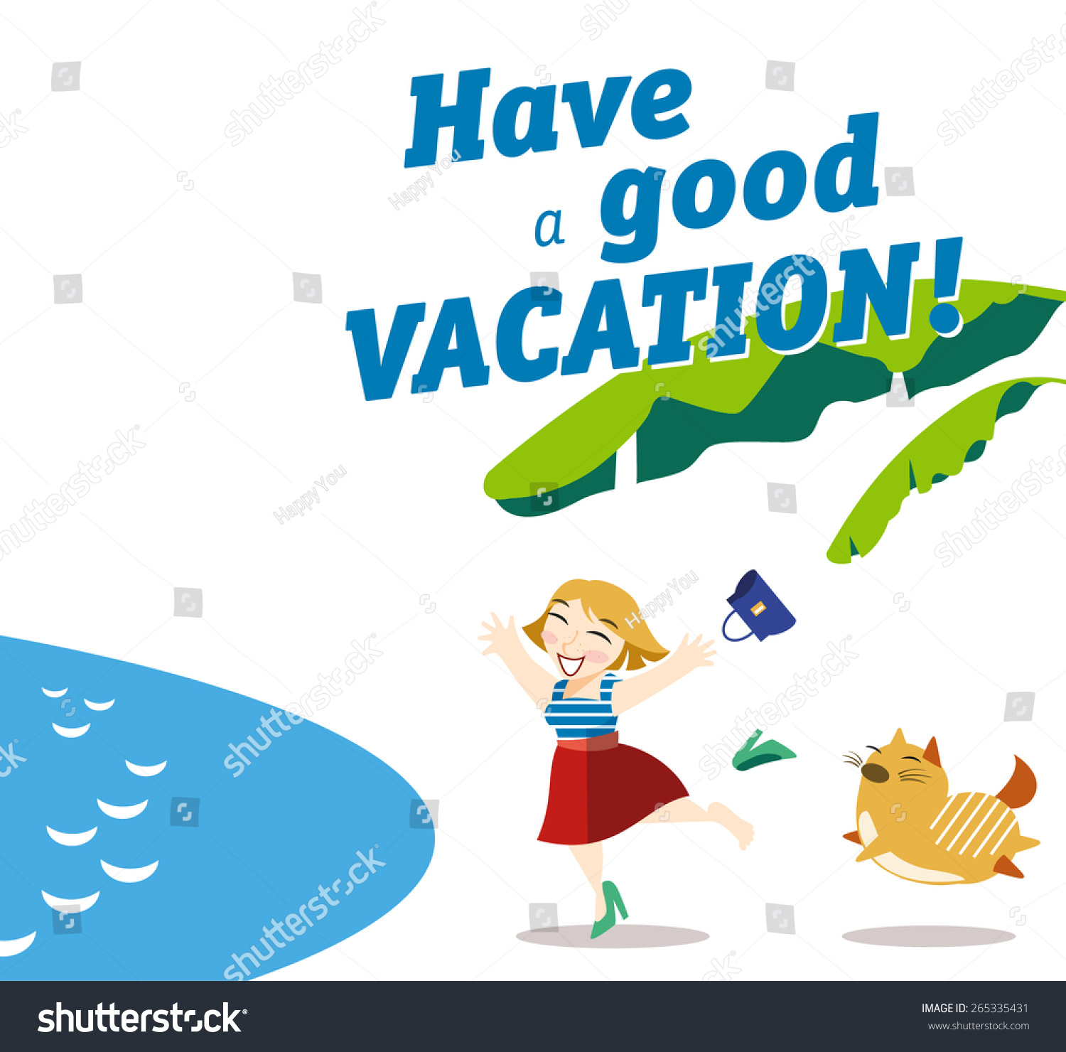 Vector Card Wishes Have Good Vacation Stock Vector