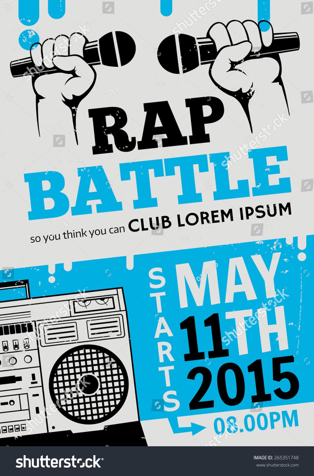 battle, concert hip-hop music. Vector template design, flyer, poster ...