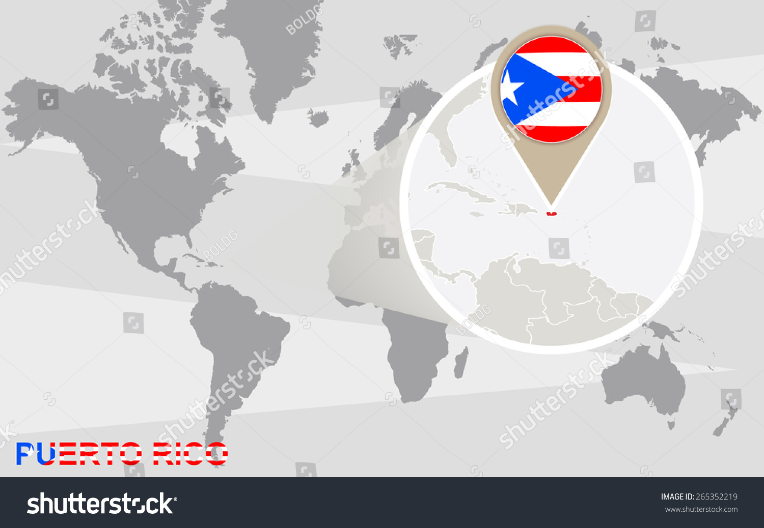 World Map Magnified Puerto Rico Puerto Stock Vector Royalty Free
