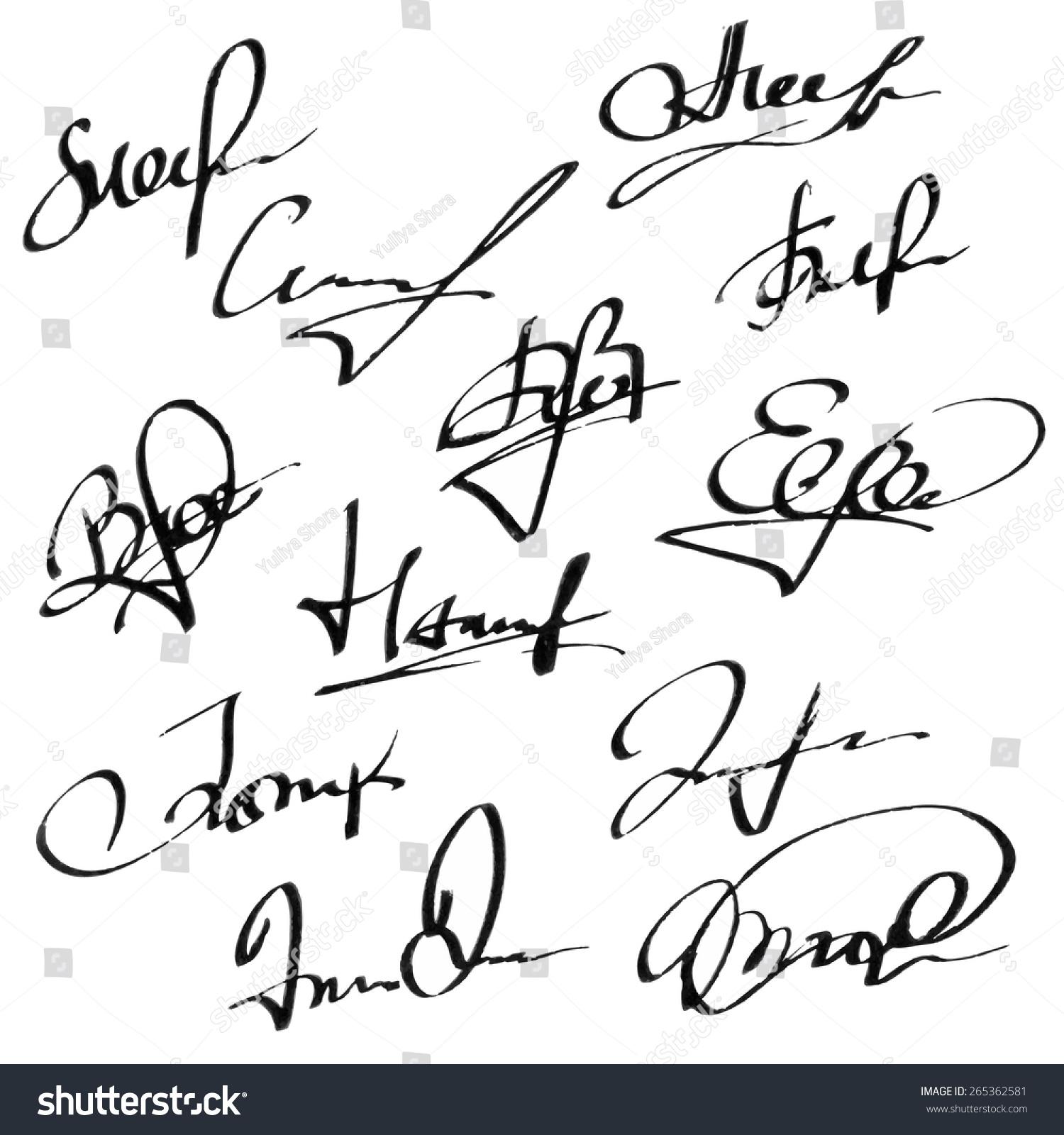 hand written watercolor ink pen calligraphy stock vector