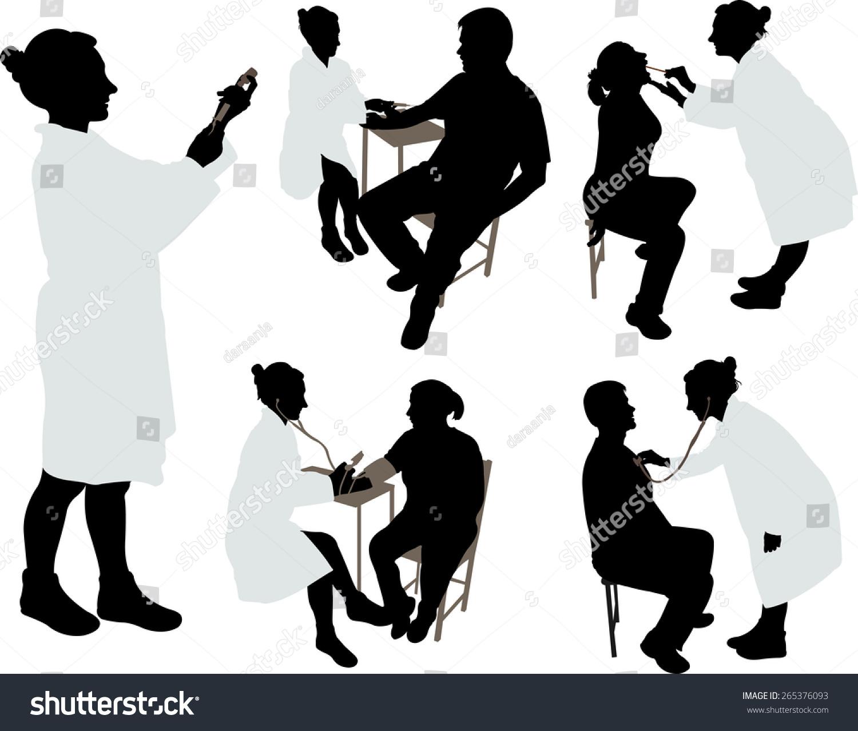 doctor patient 2 vector silhouette stock vector 265376093