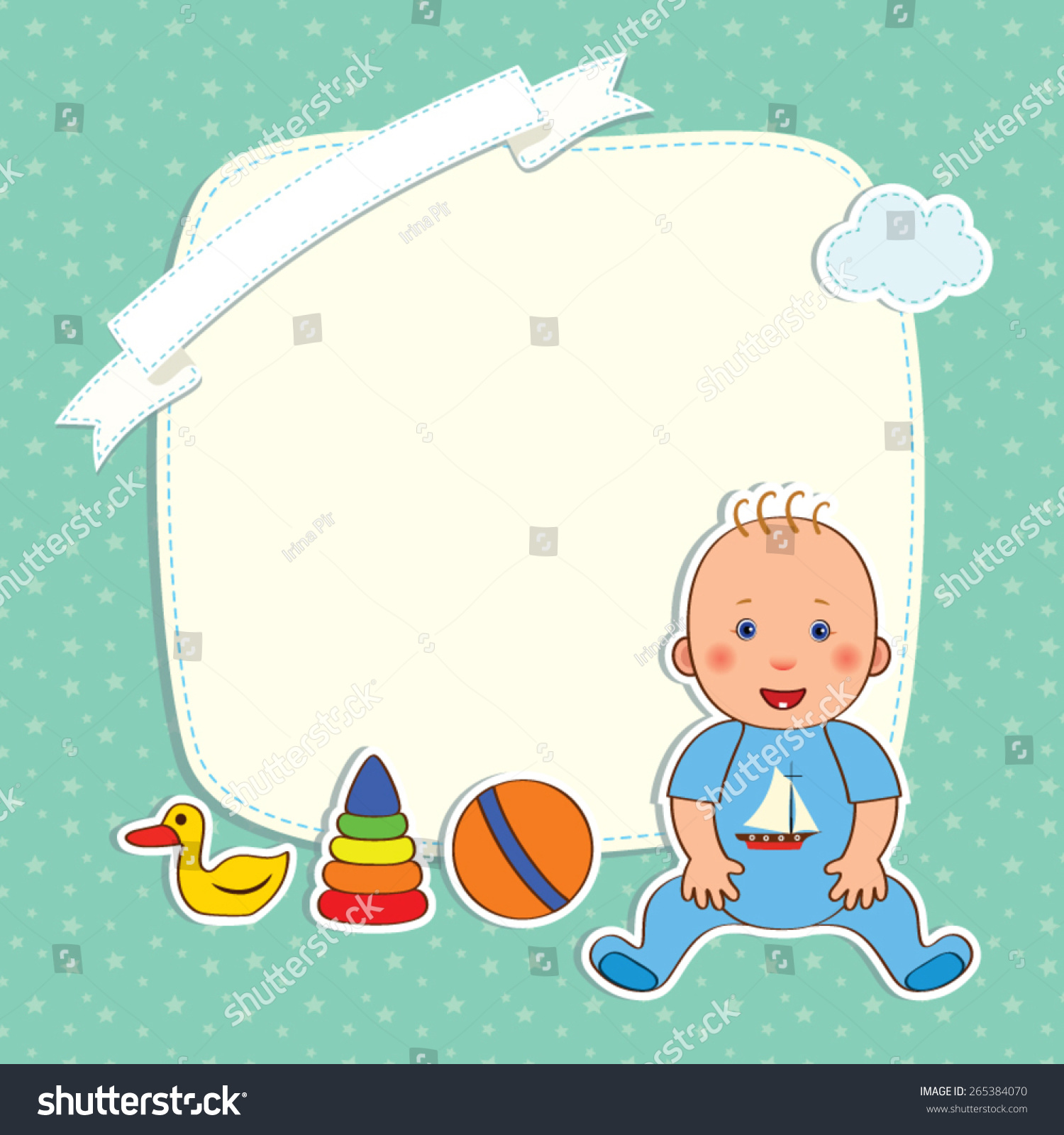 Baby Greetings Card Baby Boy Toys Stock Vector Royalty Free
