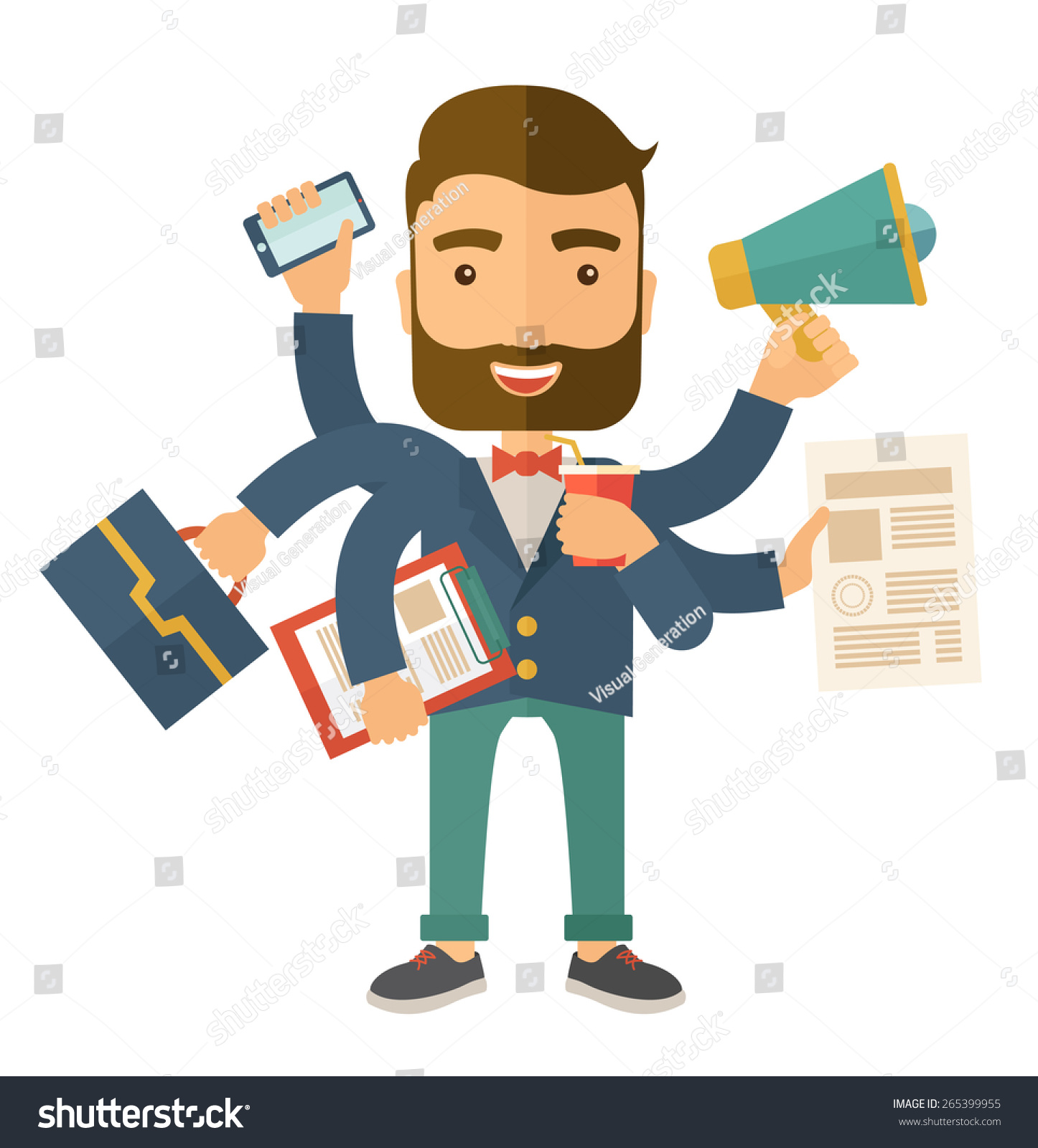 A young happy hipster Caucasian with beard has six arms doing multiple office tasks at once as a symbol of the ability to multitask performing multiple task simultaneously Multitasking concept