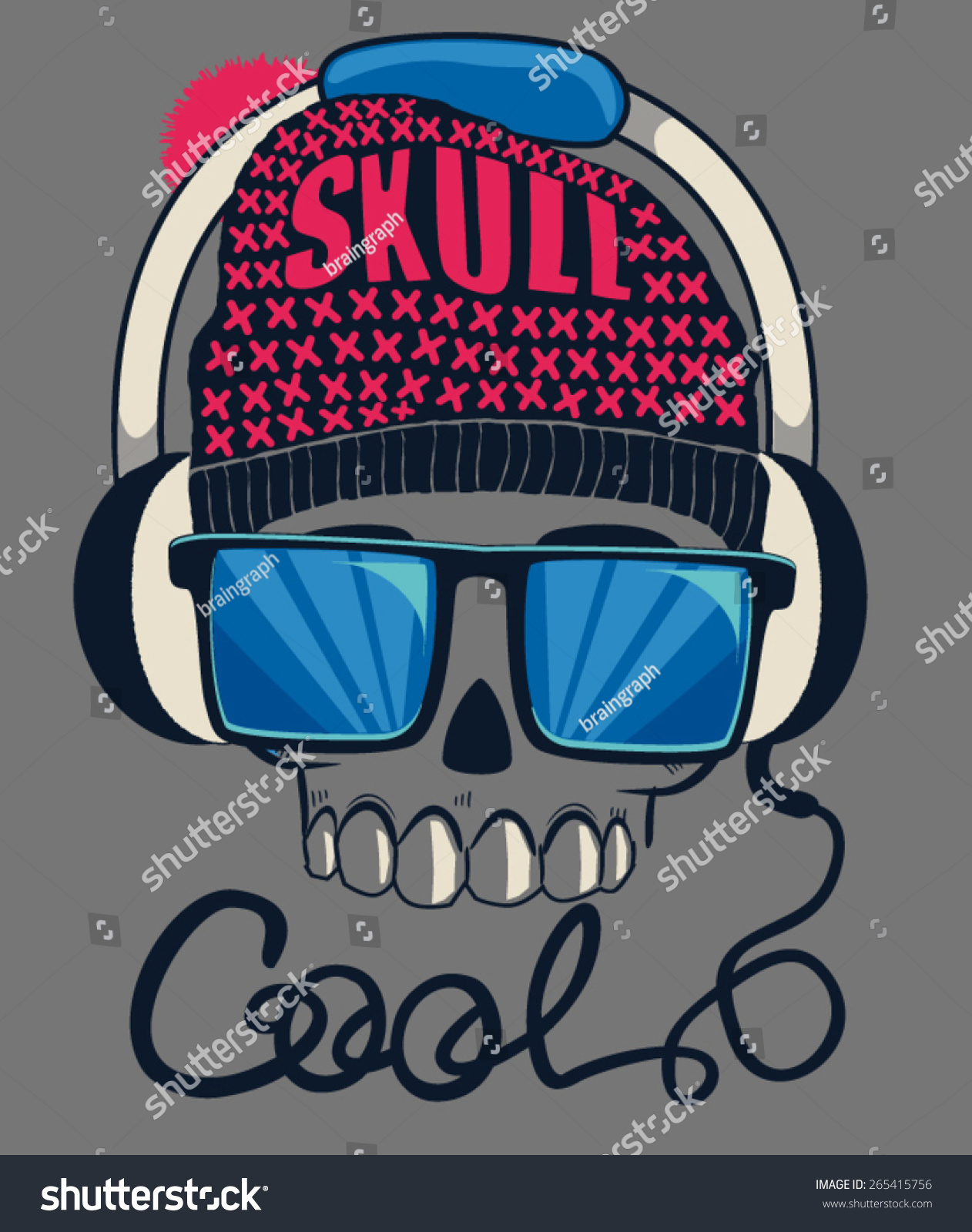 Cool Skull Design Tee Stock Vector 265415756 Shutterstock