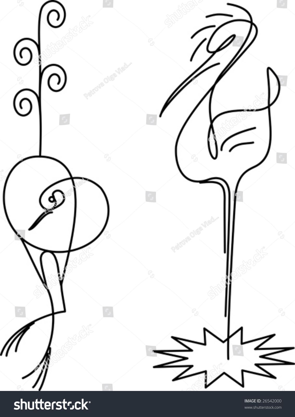 two birds crane heron stylization drawn stock vector 26542000