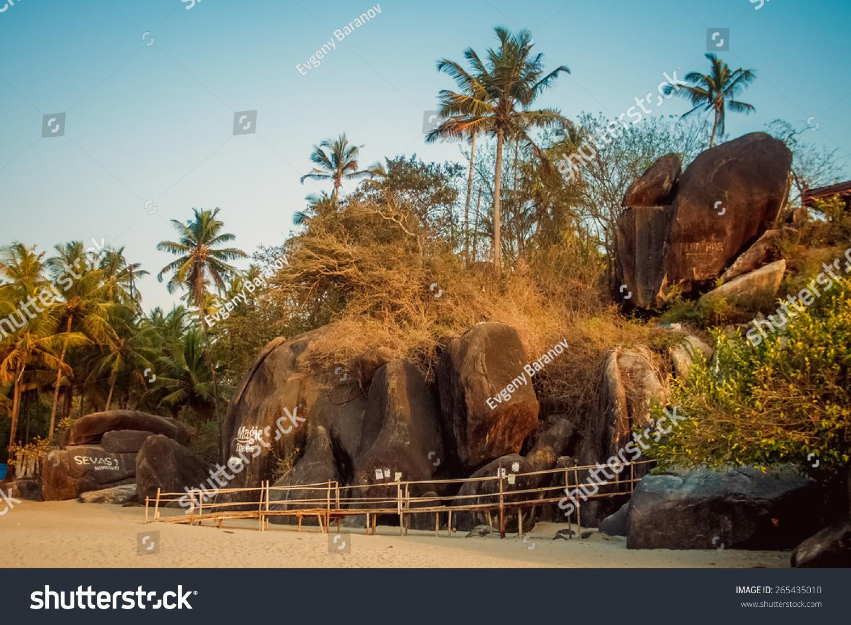 Bungalows on palolem beach india goa travel sea nature sun vacation