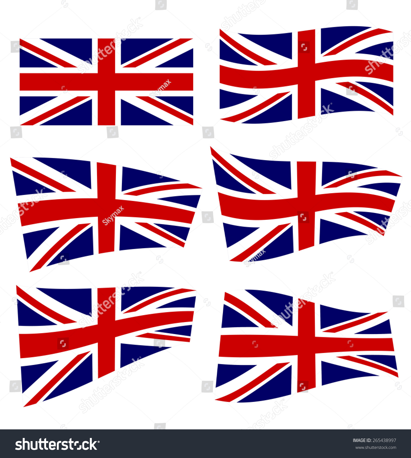 set british flags on white background stock vector 265438997
