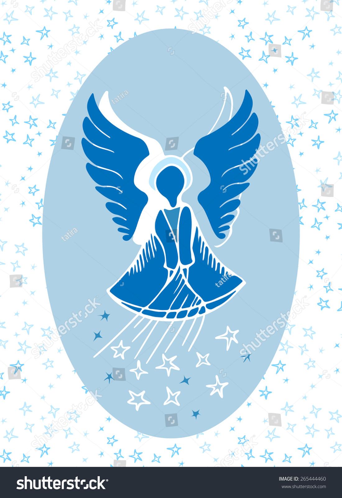 Vector Illustration Guardian Angel Bestowing Stars Stock