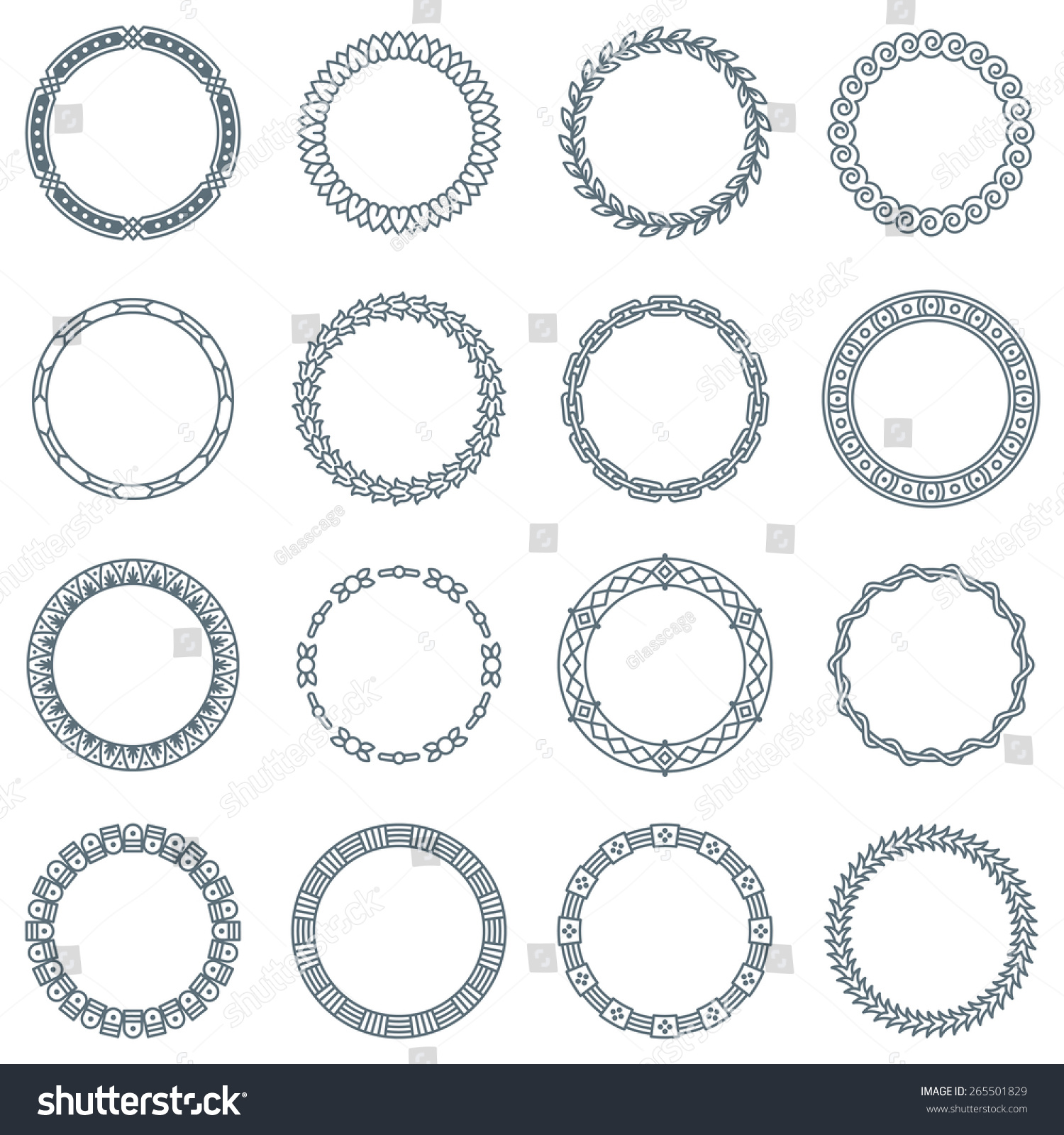 Collection Of 16 Round Decorative Frames And Labels With Lines Geometric Shapes And Nature