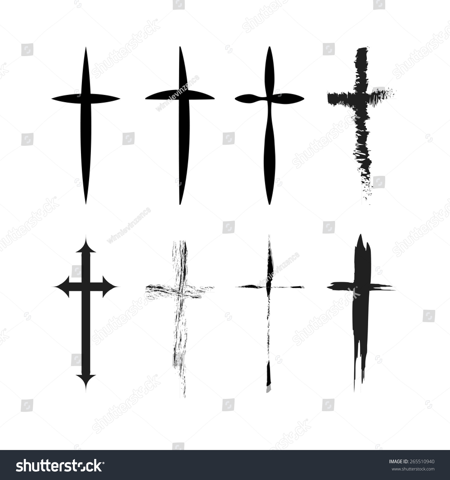 Cross Tattoo Vector Stock Vector 265510940 Shutterstock