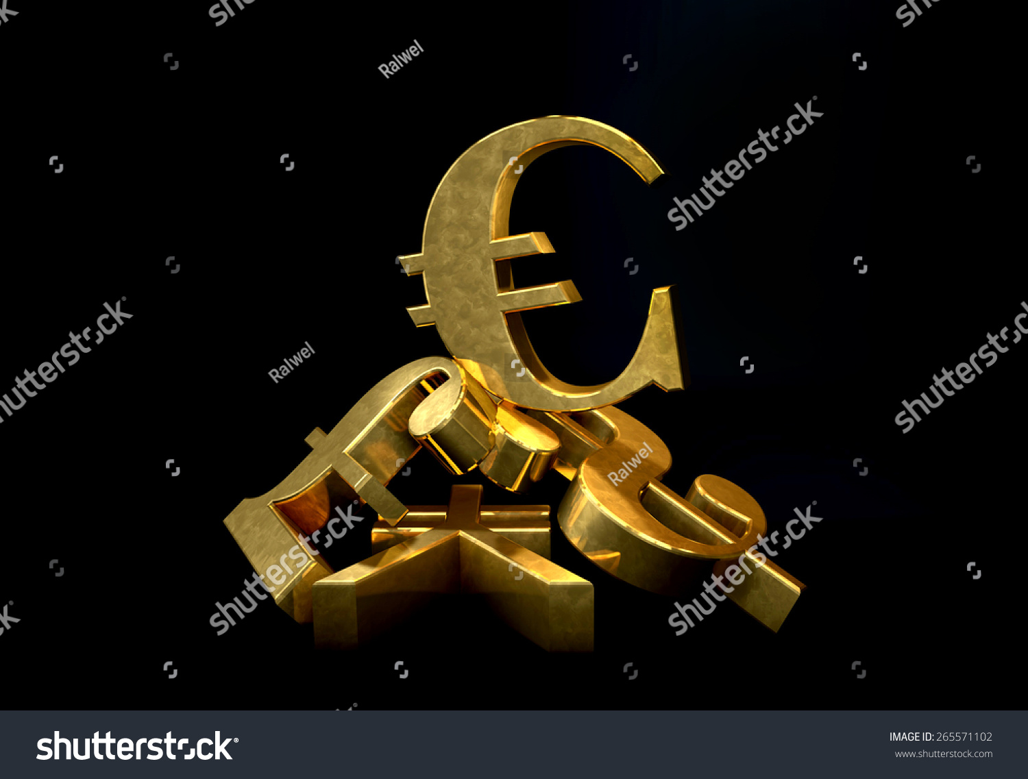 Golden currency euro symbol rising over stock illustration 265571102 golden currency euro symbol rising over a pile of poundus dollaryen biocorpaavc Images