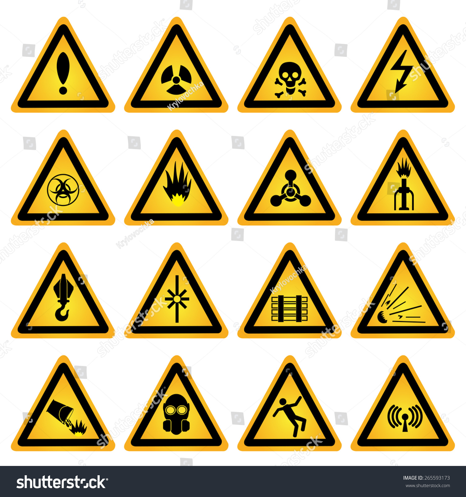 Standard hazard symbols stock vector 265593173 shutterstock standard hazard symbols biocorpaavc Gallery