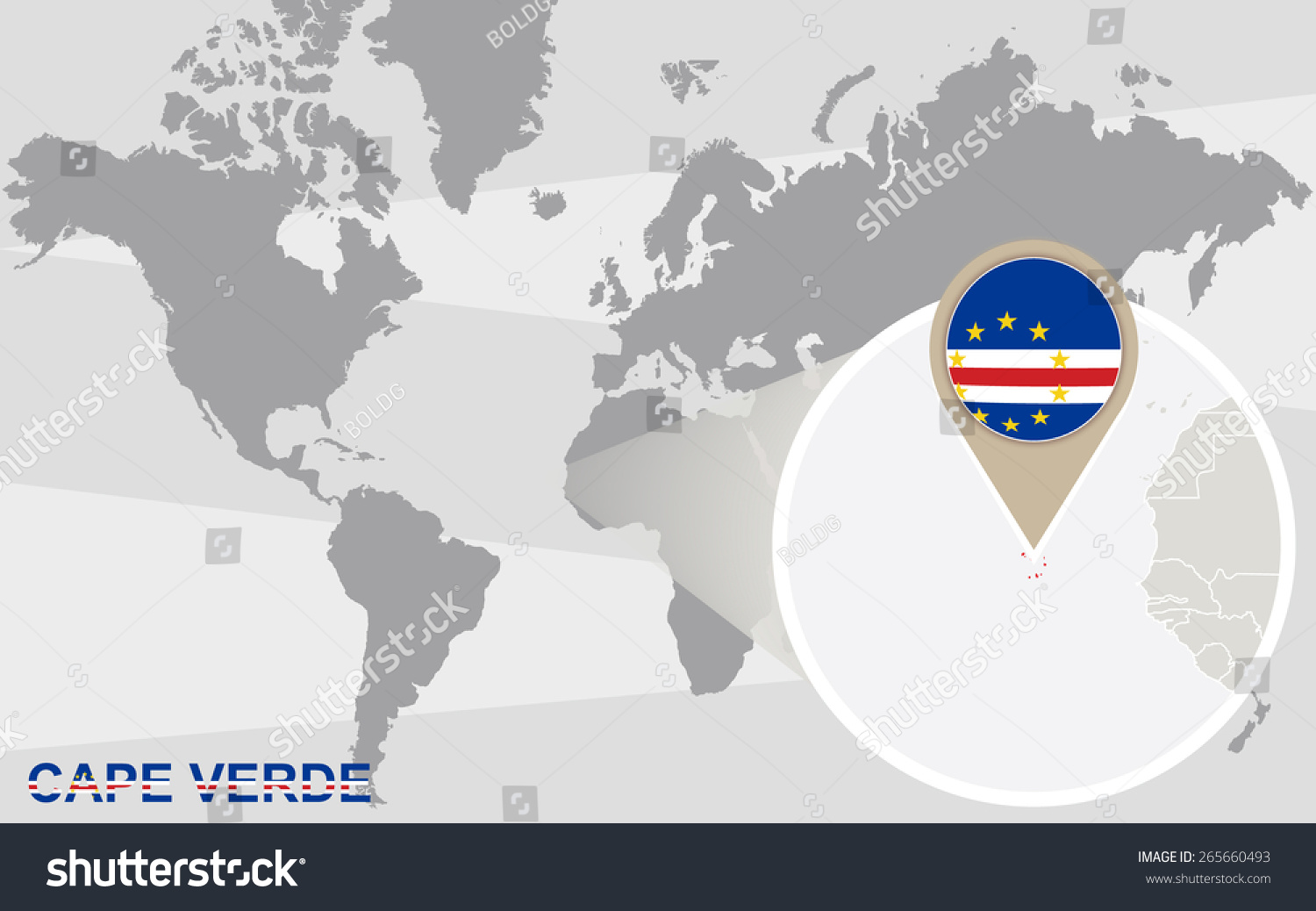 World Map Magnified Cape Verde Cape Stock Vector 265660493