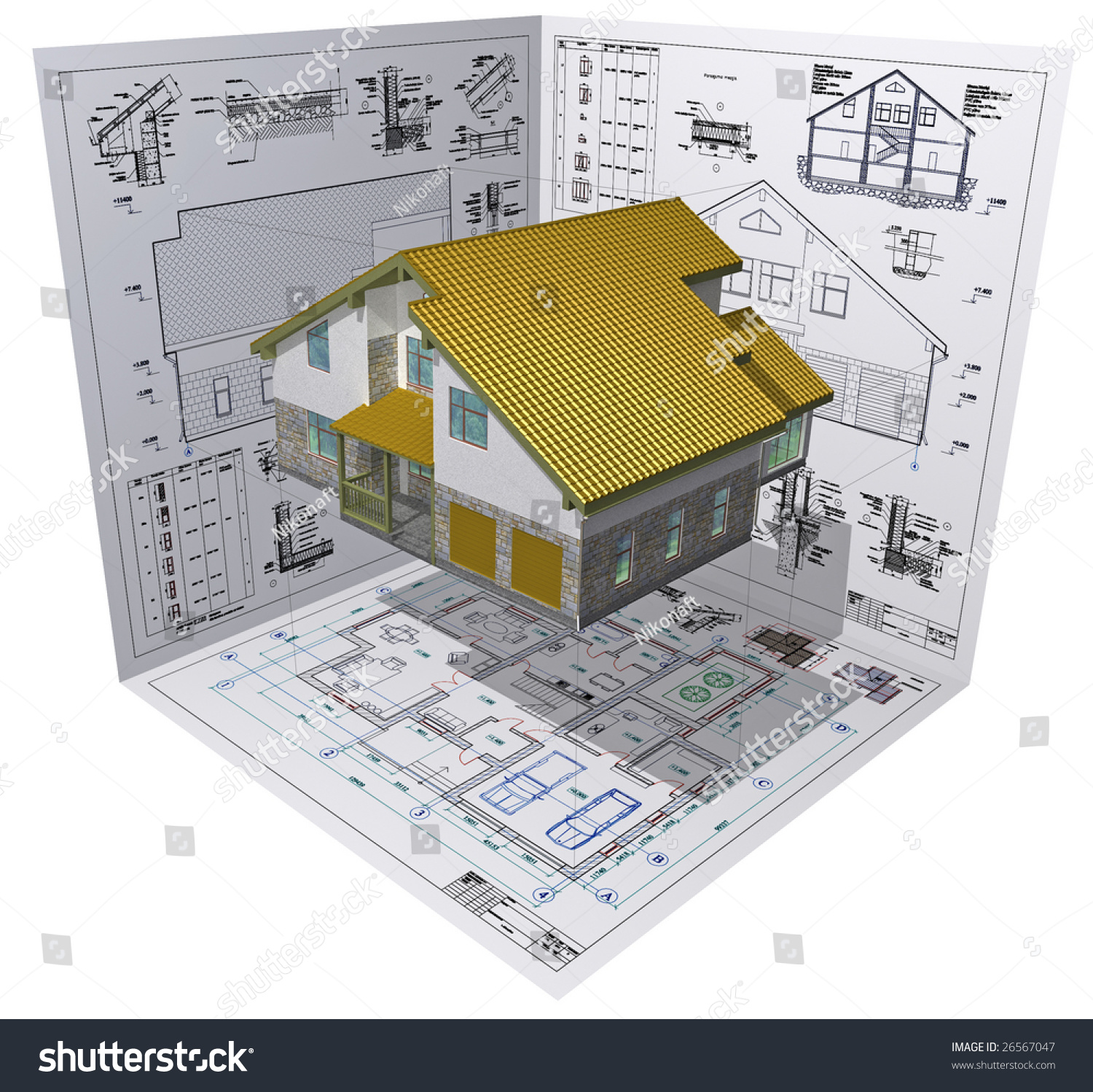 isometric view the residential house on architect u0026 39 s
