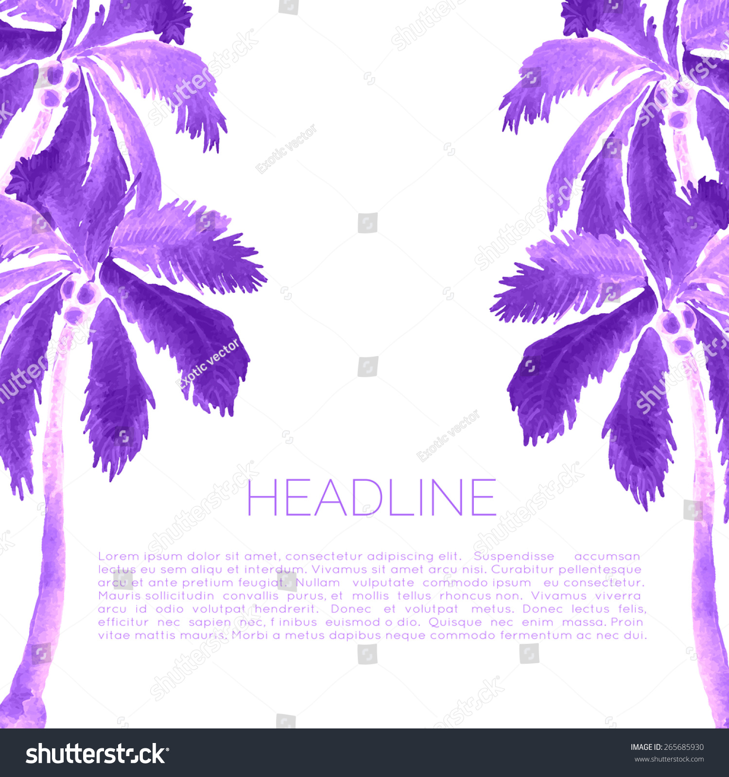 abstract watercolor template palm trees aquarelle stock vector