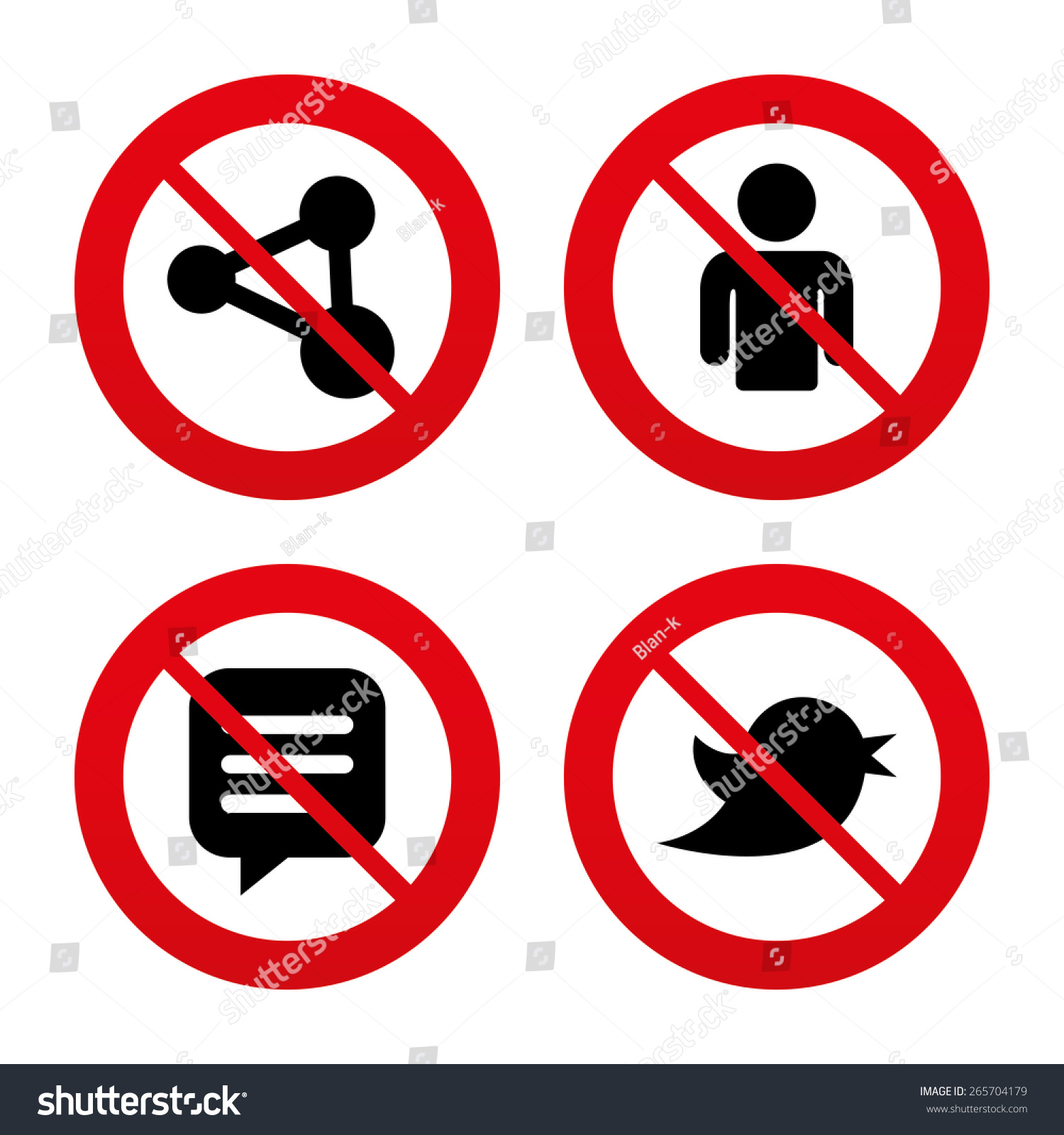 No Ban Stop Signs Human Person Stock Vector Royalty Free 265704179