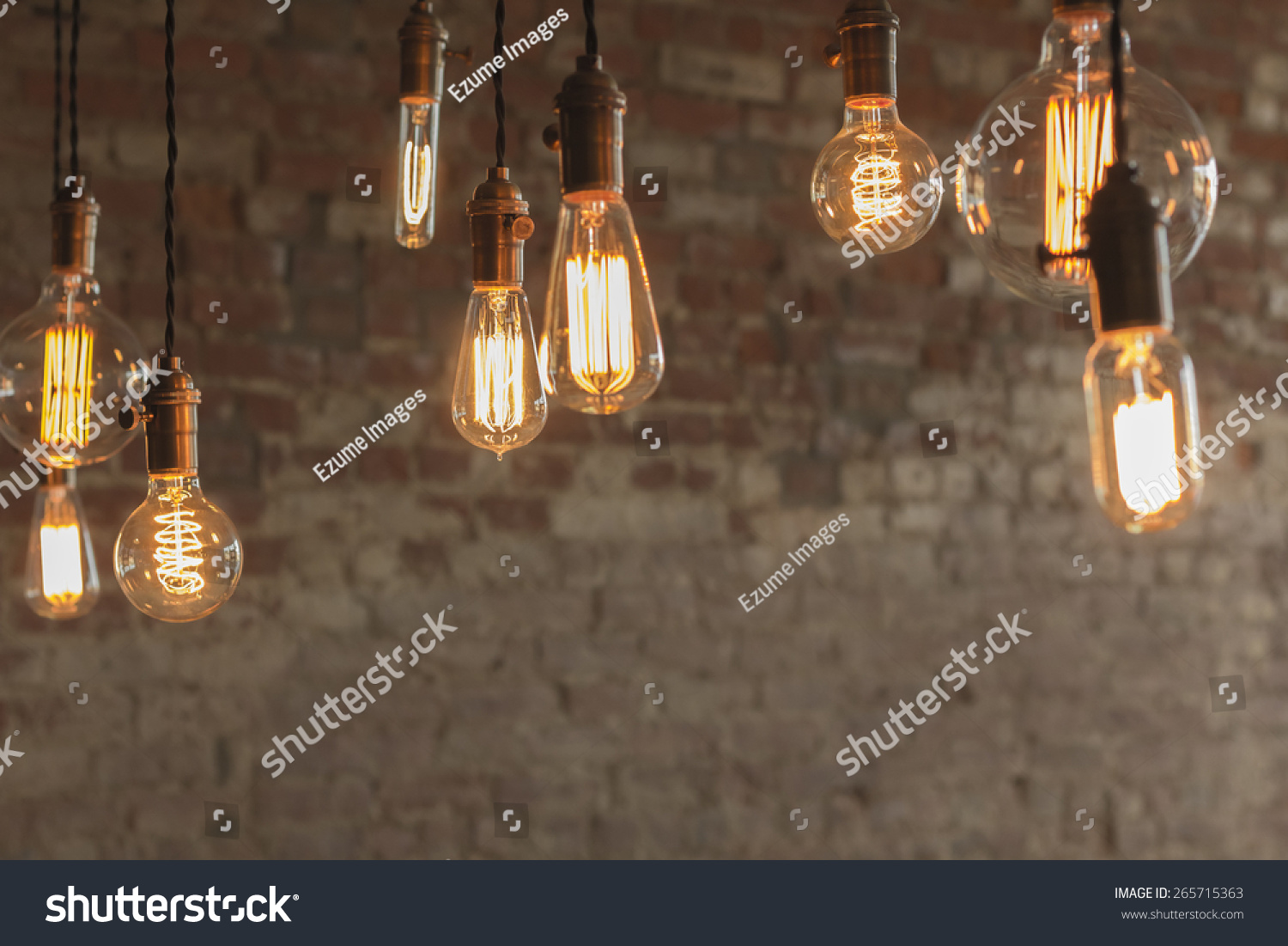 Decorative antique edison style light bulbs stock photo 265715363 decorative antique edison style light bulbs against brick wall background arubaitofo Gallery