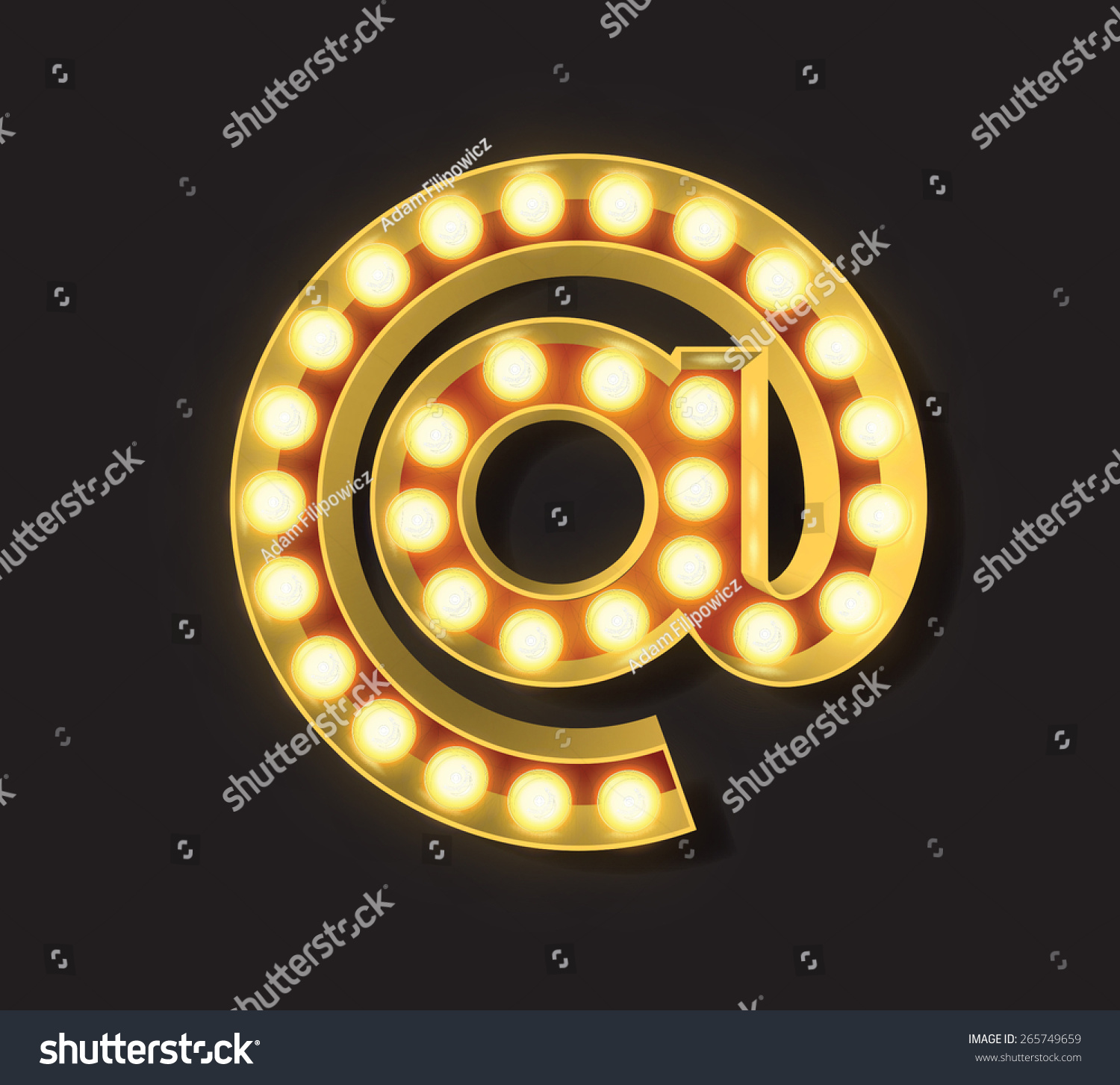 Marquee Light Letter Vector Symbol Email Stock Vector Royalty Free