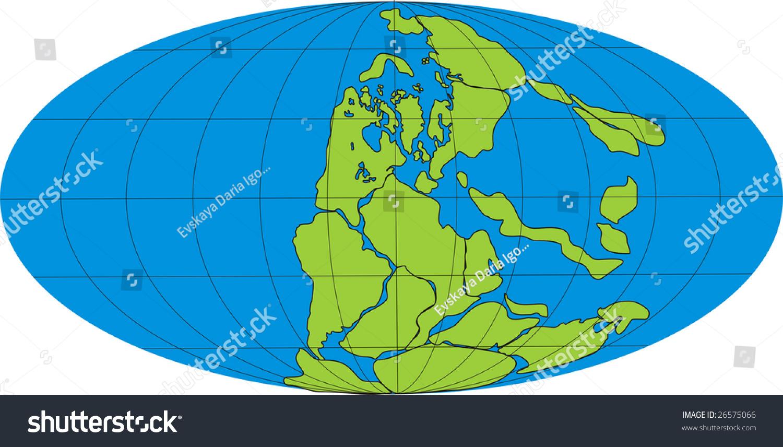 Drawing Globe Super Continent Pangea Sea Stock Illustration ...