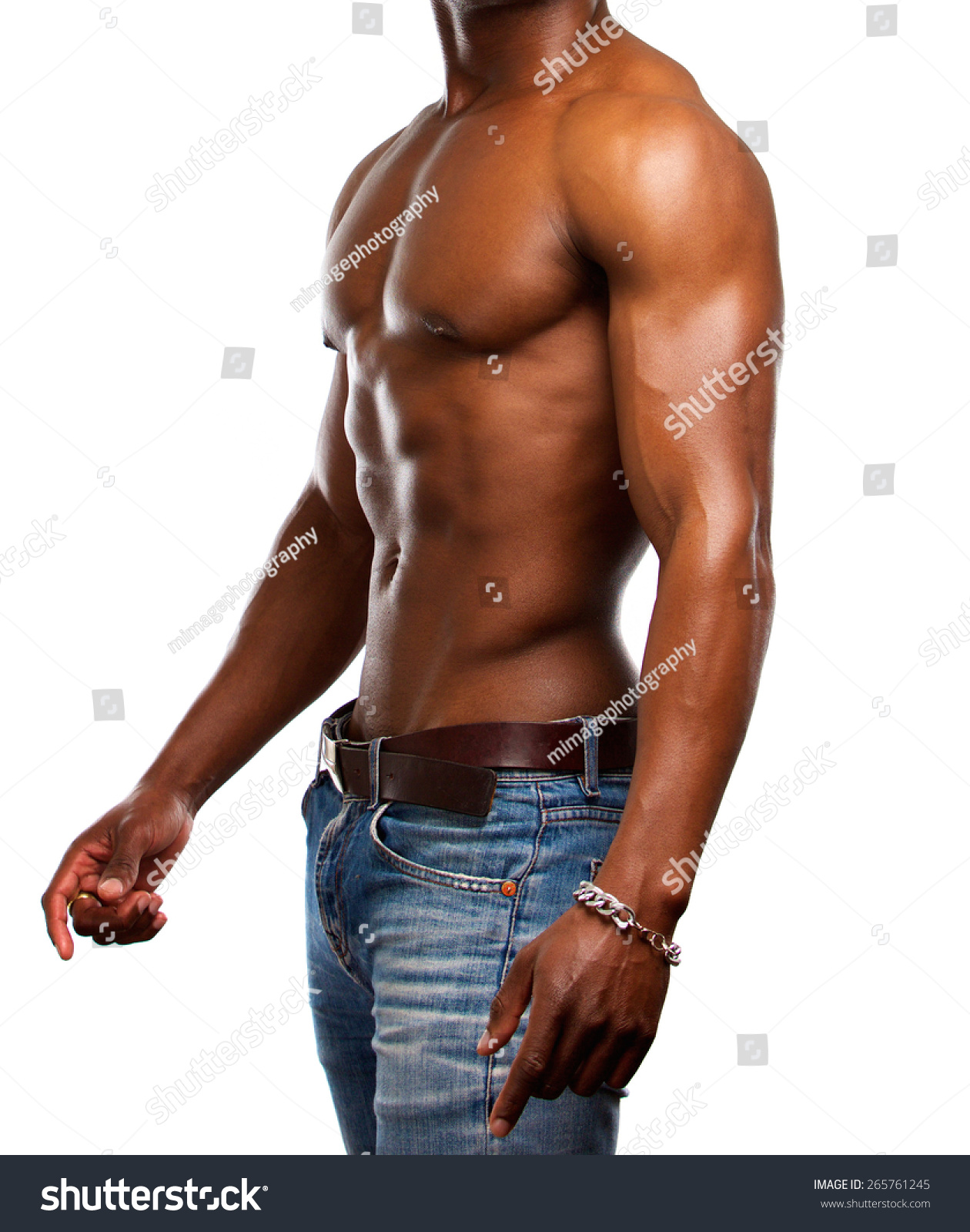 Side portrait of a healthy muscular man with no shirt