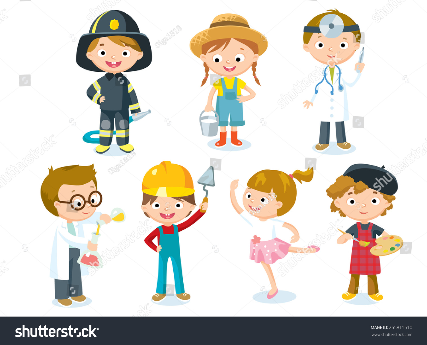 Professions Kids Stock Vector 265811510 - Shutterstock