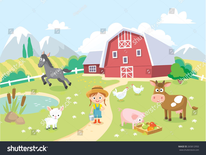 Farm Animals Barn Background Stock Vector 265812950