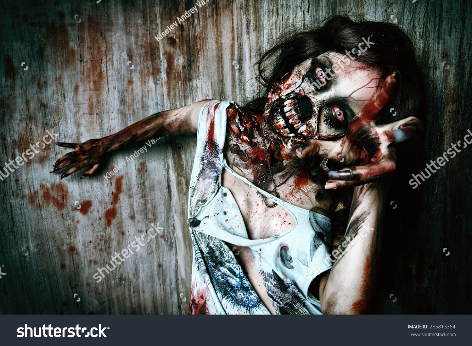 Closeup Portrait Scary Bloody Zombie Girl Stock Photo ...