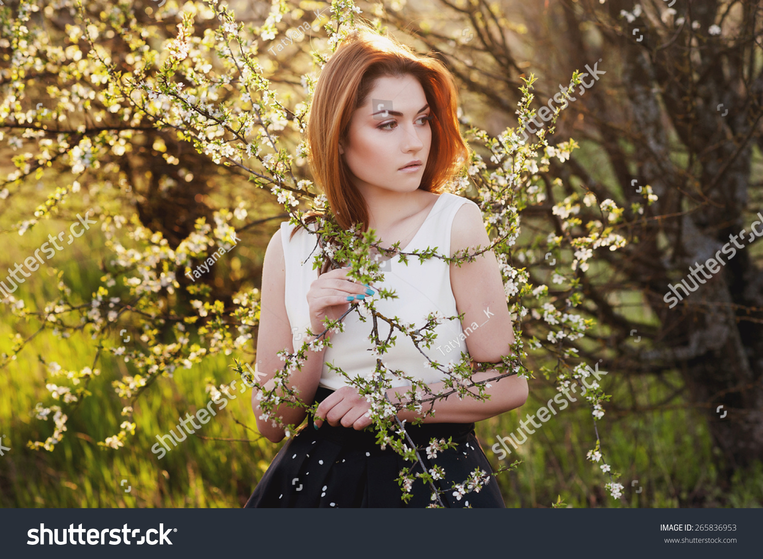Beautiful Girl Sunset Lush Spring Garden Stock Photo (Royalty Free ...