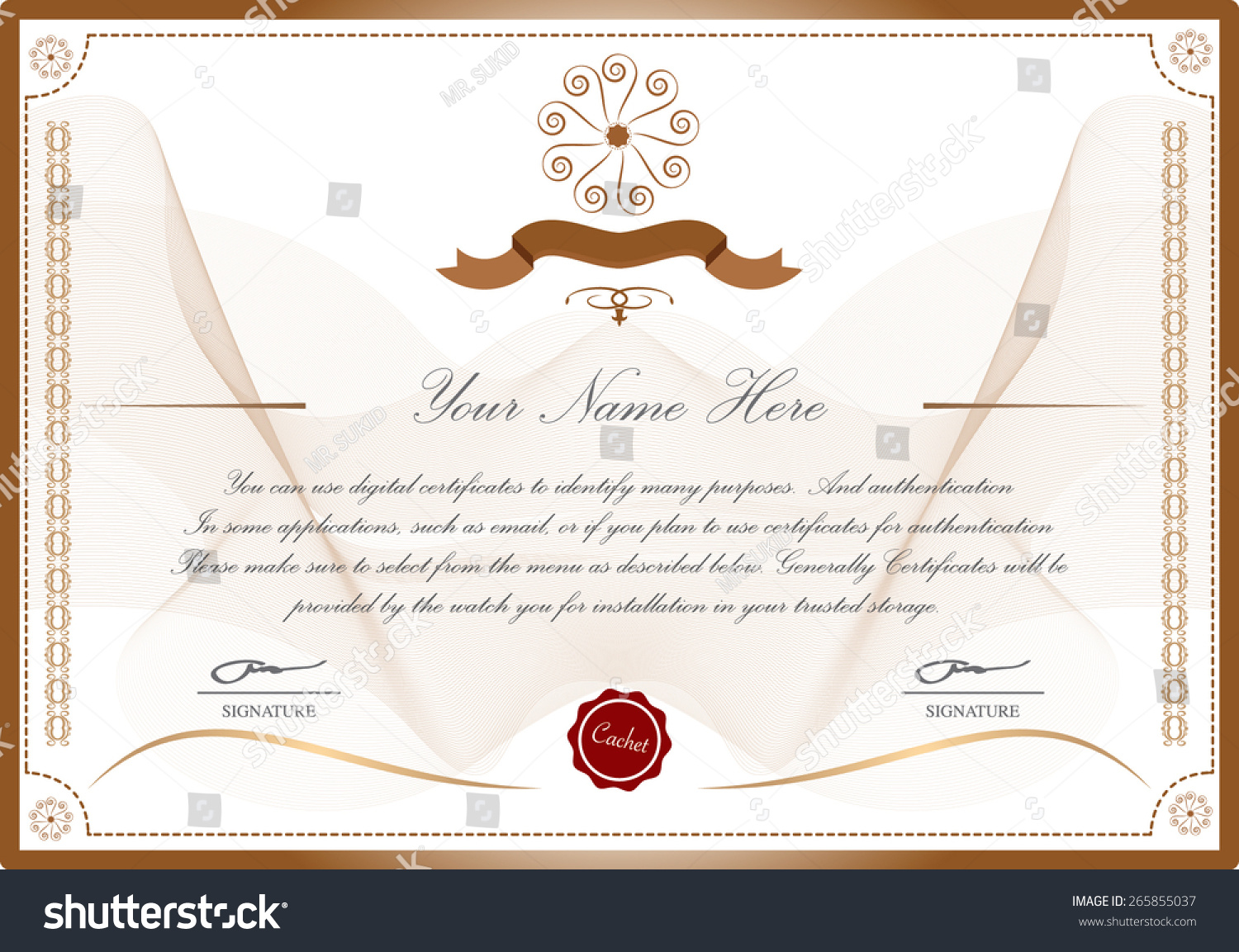 Certific Ate Template Stock Vector Royalty Free 265855037