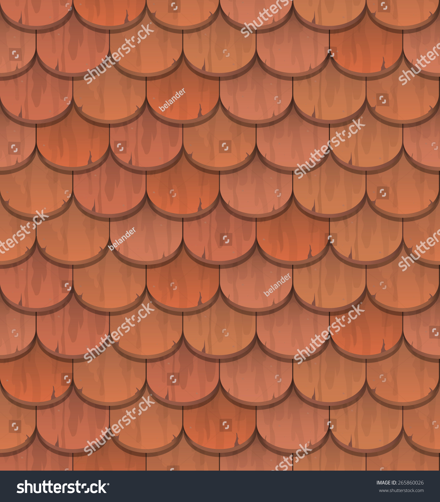 Red Clay Roof Tiles   Vector Seamless Pattern