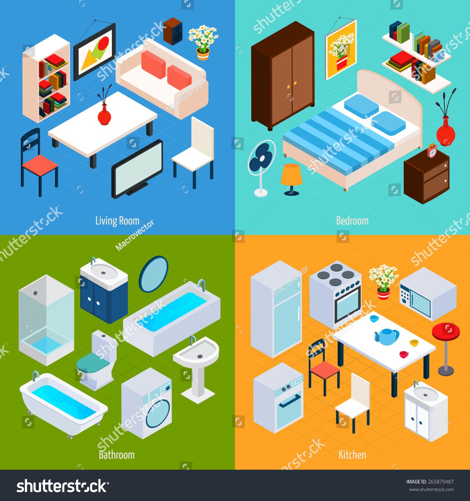 Vector Isometric Rooms Icon Stock Vector: Isometric Interior Design Concept Set Living Stock Vector