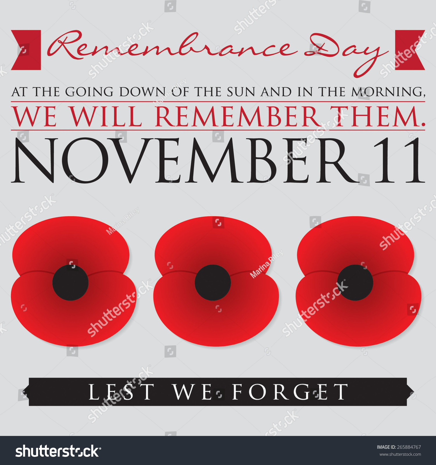remembrance day card vector format stock vector 265884767