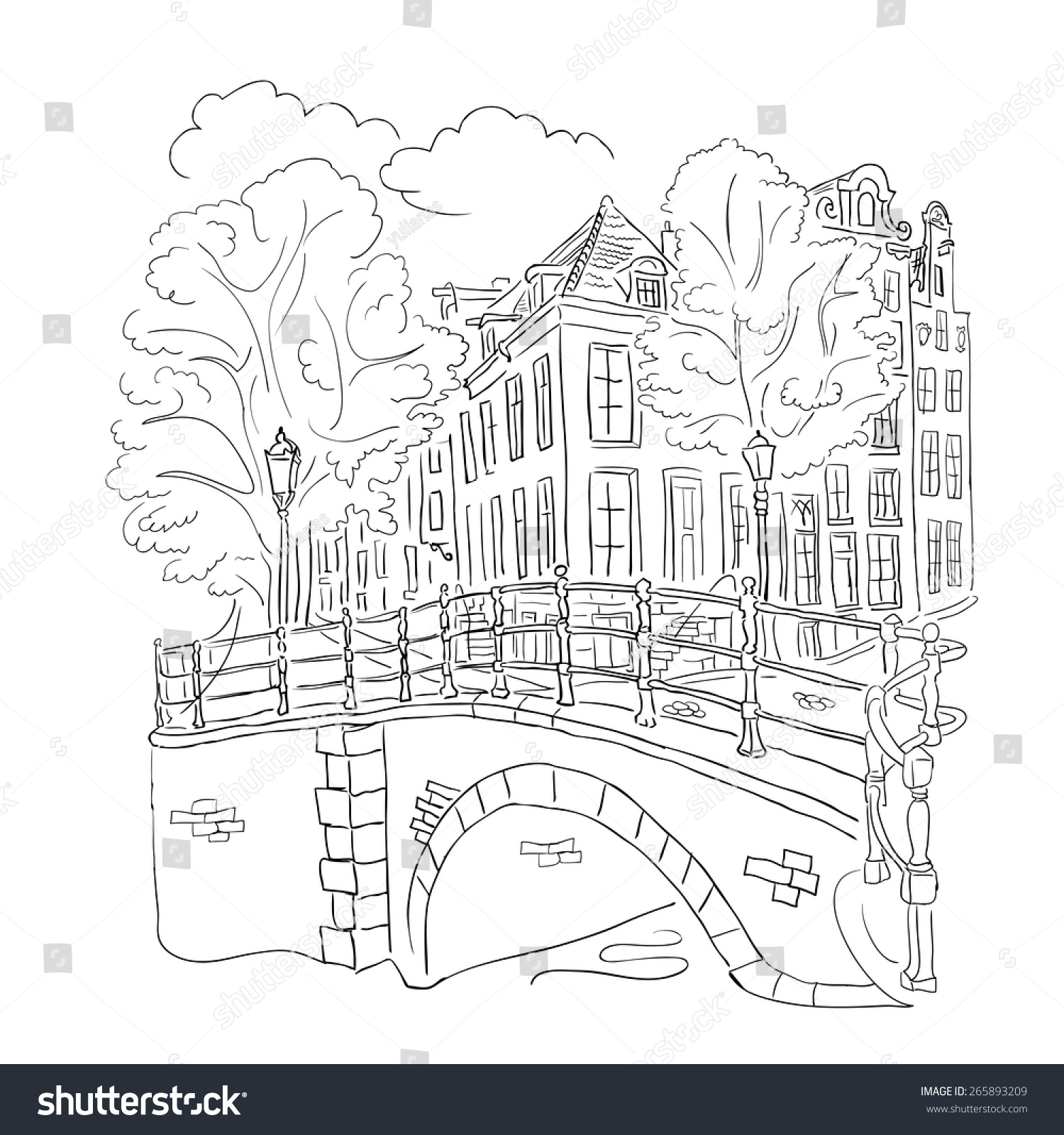 Coloring Book Adult View Street Amsterdam Stock Vector 265893209