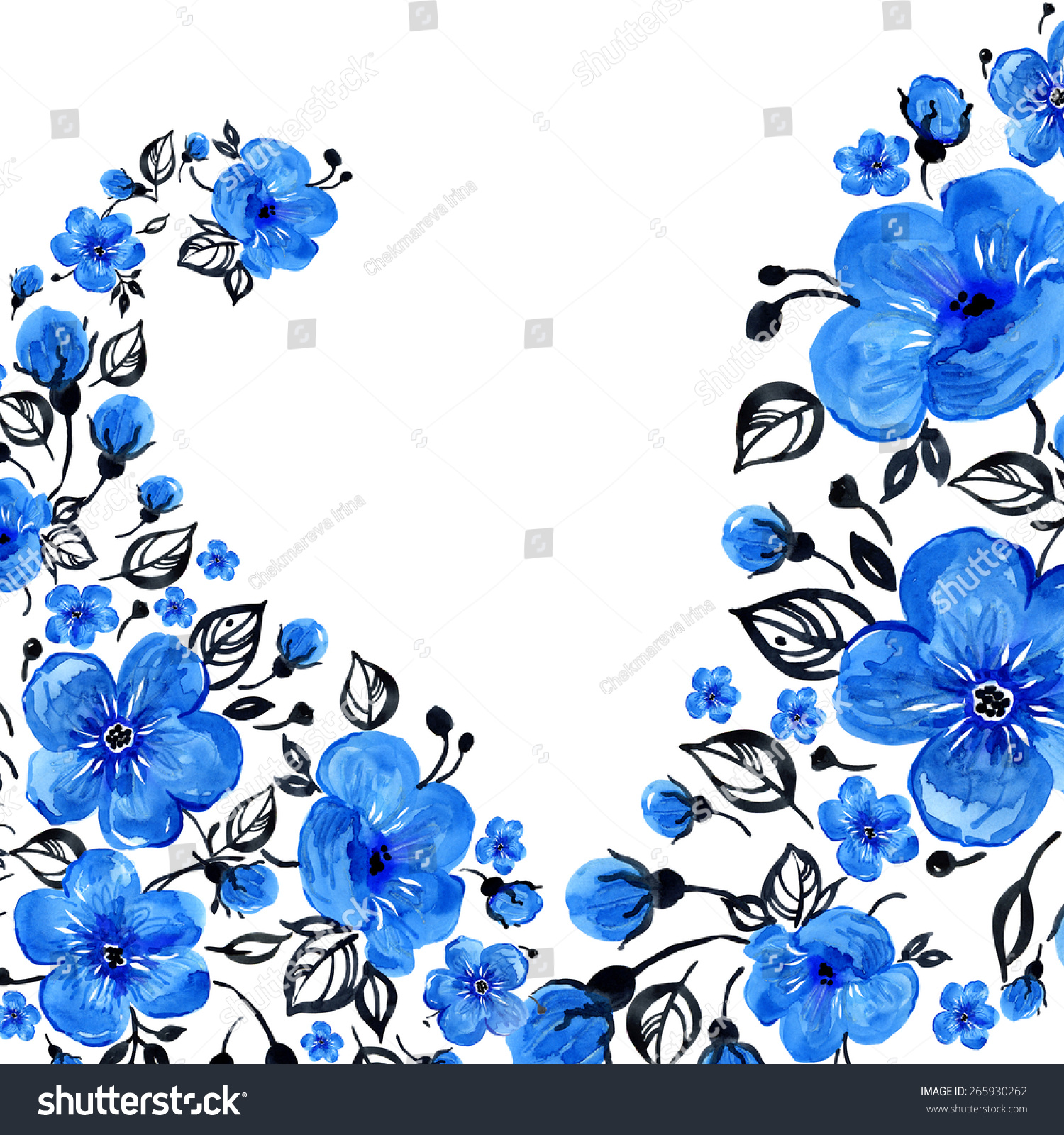 Watercolor Floral Background Wonderful Blue Flowers Stock